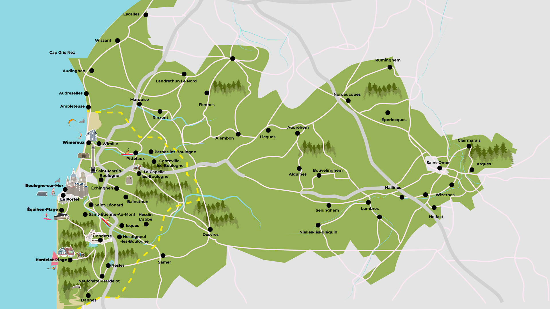 Map of the Caps et Marais d'Opale Regional Natural Park by ©L. de Rocquigny