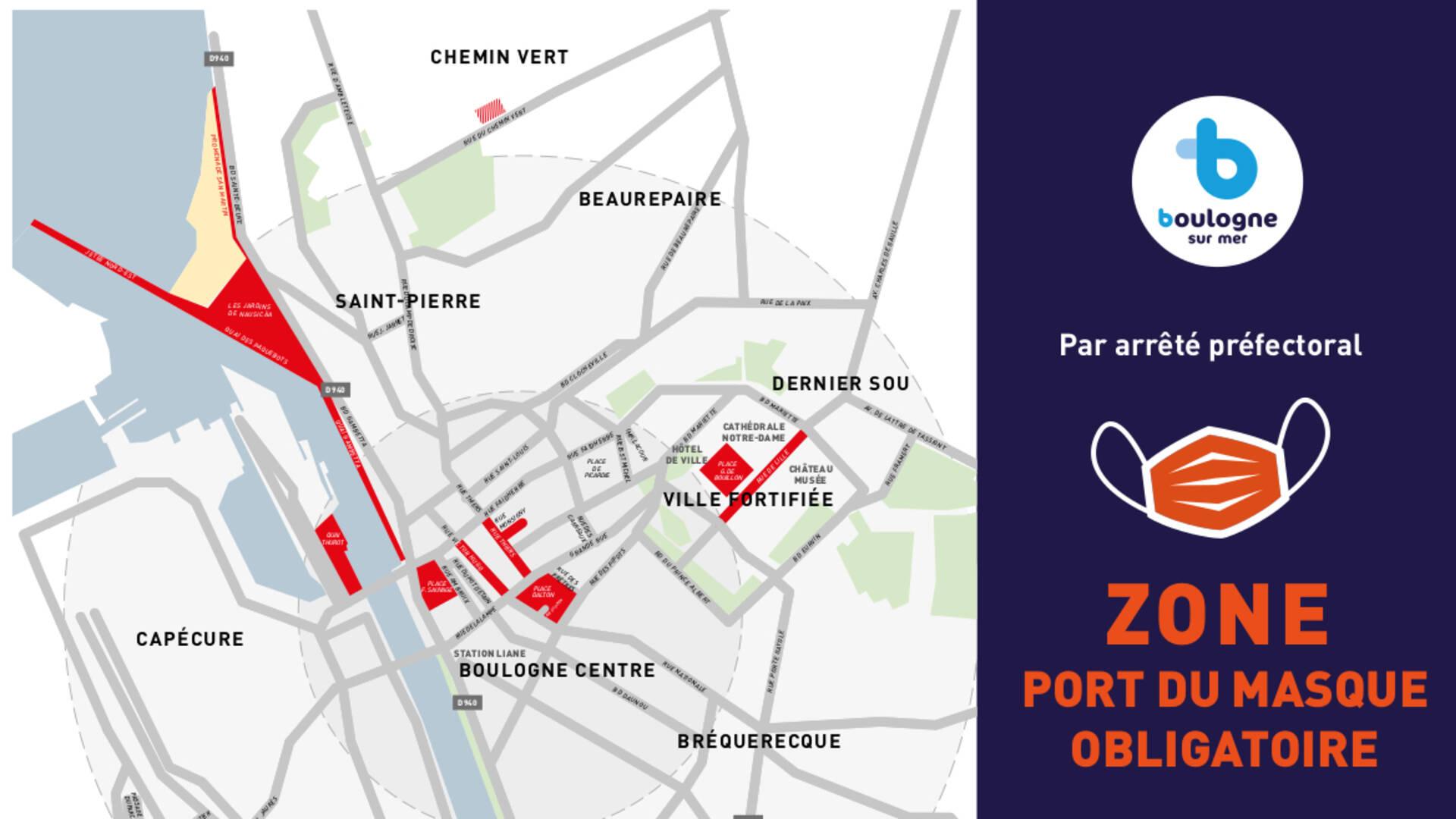 plan de Boulogne-sur-Mer où le port du masque est obligatoire